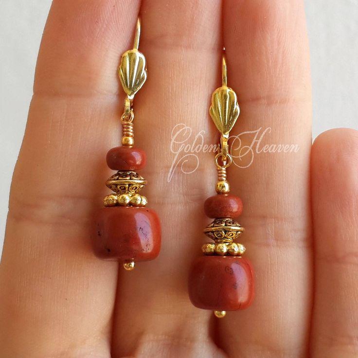 Gorgeous Red Brown Earrings Red Jasper Earrings Red Gemstone earrings Gold Leverbacks Earrings Cute Gift for her Elegant Earrings by GoldenHeaven on Etsy