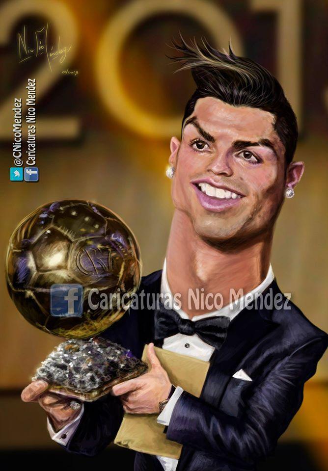 (Caricatura) Cristiano Ronaldo Con su merecido Balón de Oro.