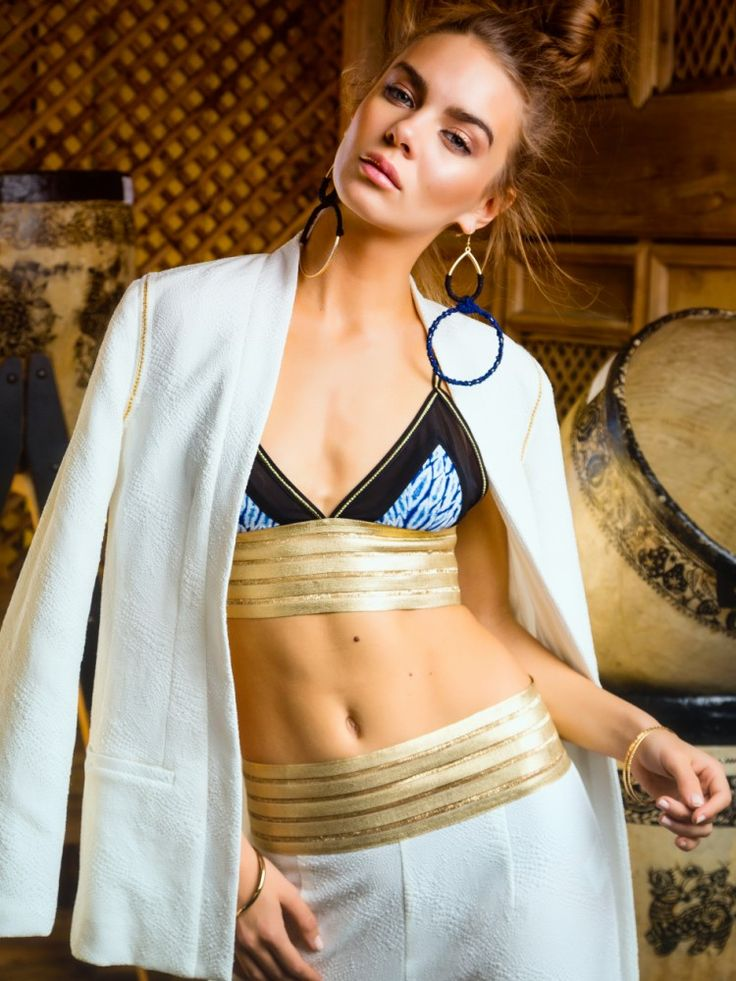 spirit tales wide leg pant moon shadow bralette Sacred pagoda blazer with gold chain detail Indigo, gold, white, textures