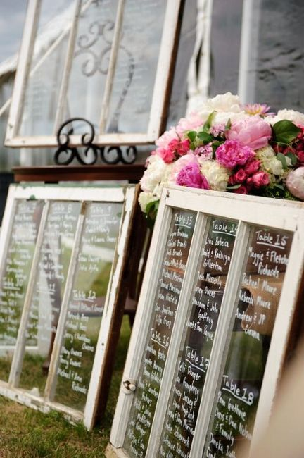 Vintage place card display wedding using old windows. We have lots of windows to pick from!