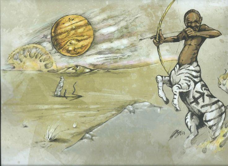 SAGITTARIUS - African Zodiac from 2014 Art Publishers Calendar Illustrations by Blue Ocean Design