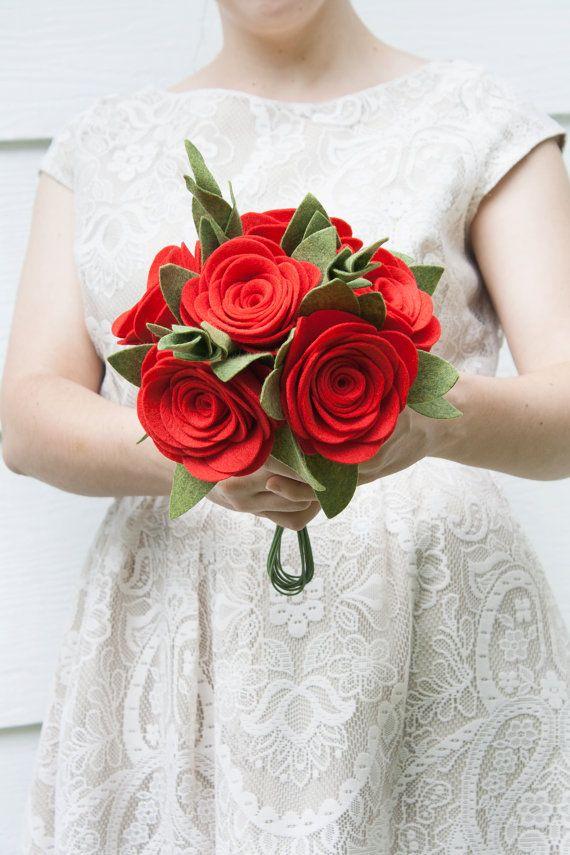 Red Rose Bouquet / Felt Wedding Bouquet / by SugarSnapBoutique, $85.00