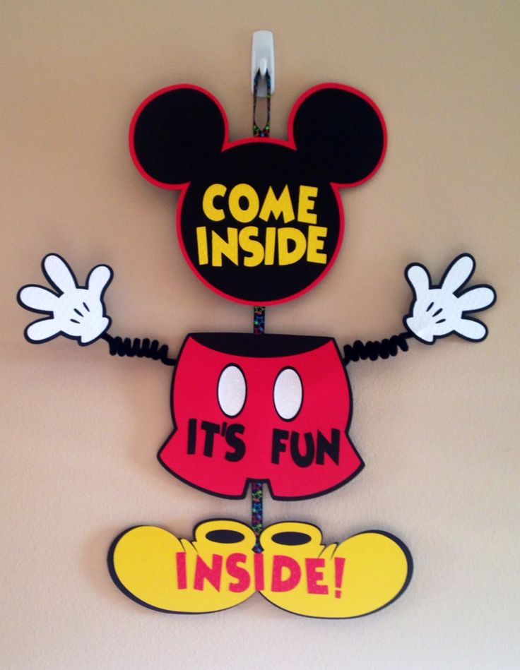 Mickey Mouse Door Sign Birthday Wiggle Arm Come inside, It's Fun Inside Or Custom Saying  Mickey Party Mickey Door Sign by CutestBowsOnTheBlock on Etsy https://www.etsy.com/listing/204738796/mickey-mouse-door-sign-birthday-wiggle