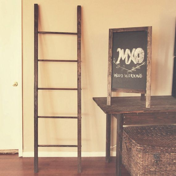 6ft large rustic reclaimed wooden blanket ladder 72x20. Black Bedroom Furniture Sets. Home Design Ideas