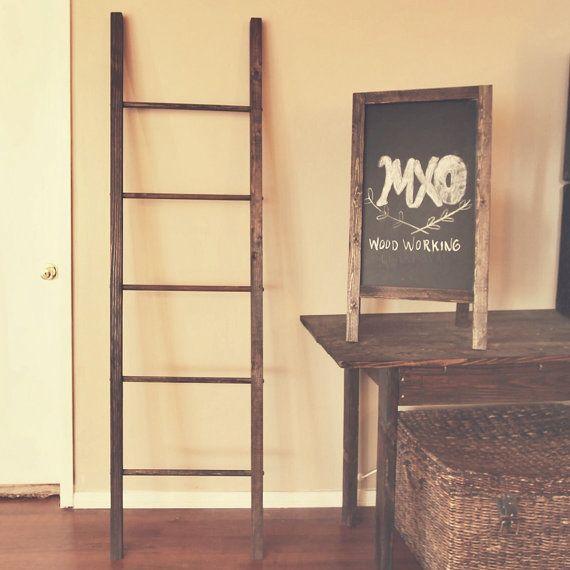 6ft large rustic reclaimed wooden blanket ladder 72x20 - Reclaimed wood ladder shelf ...
