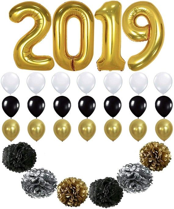 Large, 2019 Balloons Banner Decorations – Pack of 31 | Black Gold White Latex Balloons | Black Silve