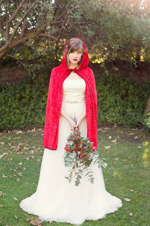 Red Riding Hood inspired bridal style on www.ohdarlingdays.co.za Dress from Olivelli Cape Town Bridal Boutique www.olivellicapetown.co.za Photograph by Kathrin Gallova www.kathringallova.com #OlivelliCT