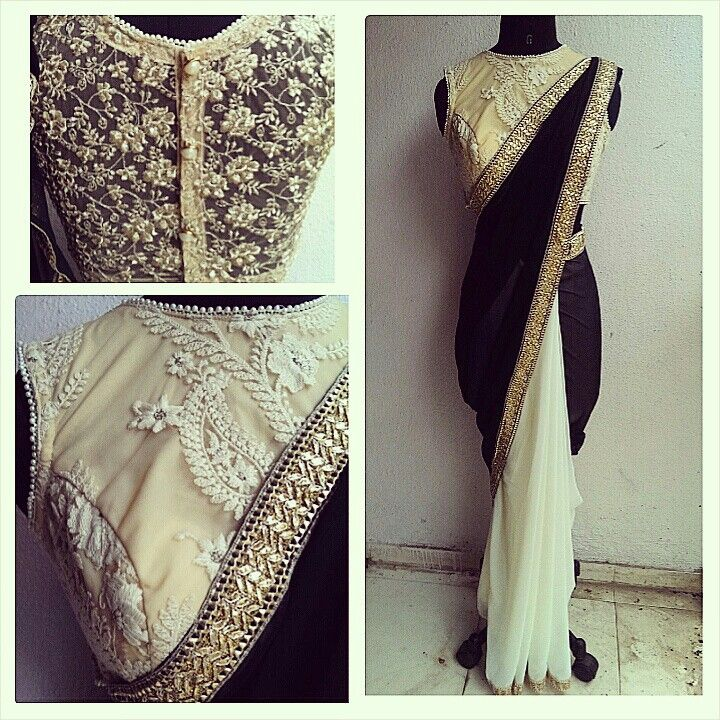 Monochrome sari with embellished blouse Waidurya find us at www.facebook.com/waidurya for orders