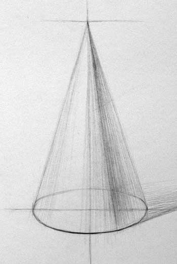 Начало работы над объёмной формой конуса