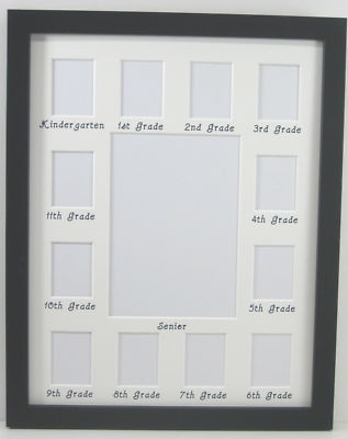 11x14 School Years K-12 Picture Frame - 5x7 in center surrounded by wallets with grade level under each