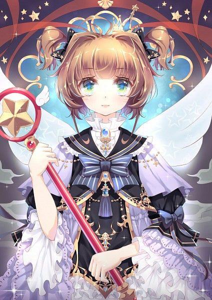Tags: Anime, ElliV, Cardcaptor Sakura, Kinomoto Sakura, Multi-colored Bow, Star Wand, Gray Bow