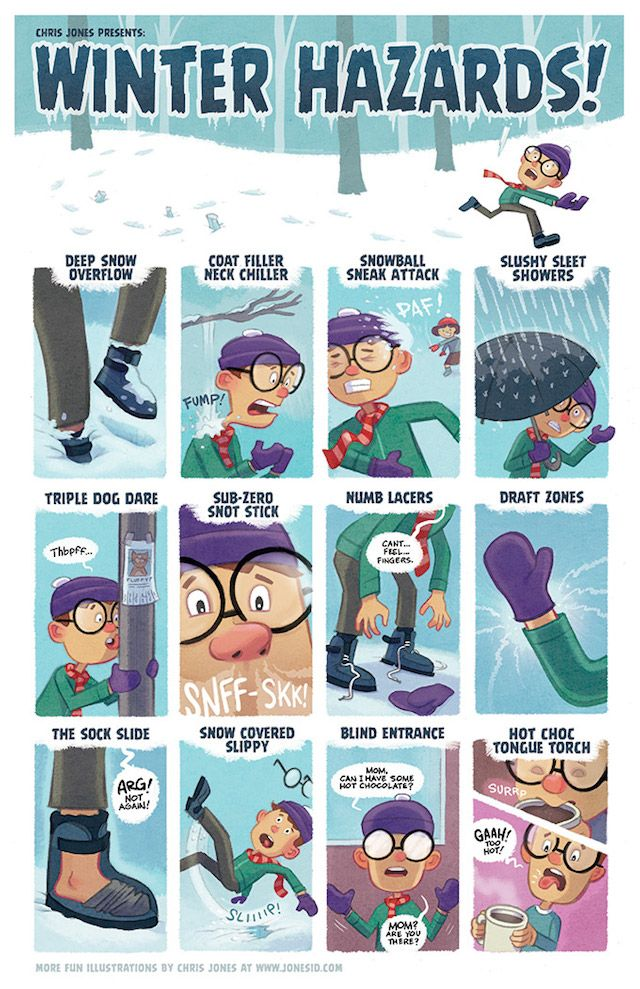 Hahaha I love 'The Sock Slide' that always happens to me. Winter Hazards and Sled Slang Holiday Posters by Chris Brown