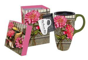Cypress Home Floral Latte Travel Mug A great gift for your mother or mother-in-law. Long with being beautiful it also comes packaged in matching gift box. http://theceramicchefknives.com/ceramic-mug-lid/ 12-Ounce, 12-Ounce Eco Travel Mug, Black, Blue, Cafe Mocha Vodka Insulated Travel Mug, Ceramic Mug With Lid,