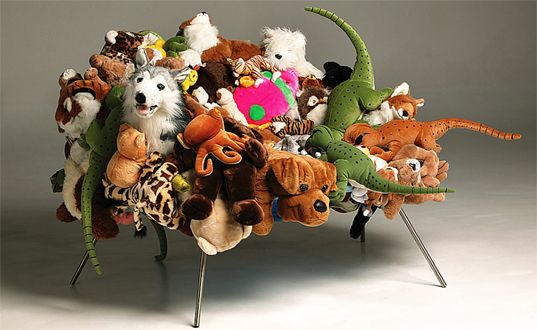 I could honestly cuddle up in one of these recycled plush sofas!