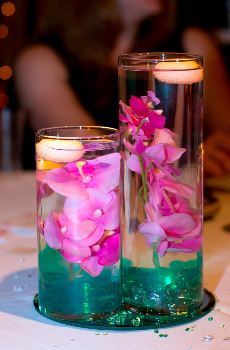 3 Tier Cylinder Vases Submerged Orchids Teal Gel Water Beads And Green Floralyte S Hot Pink