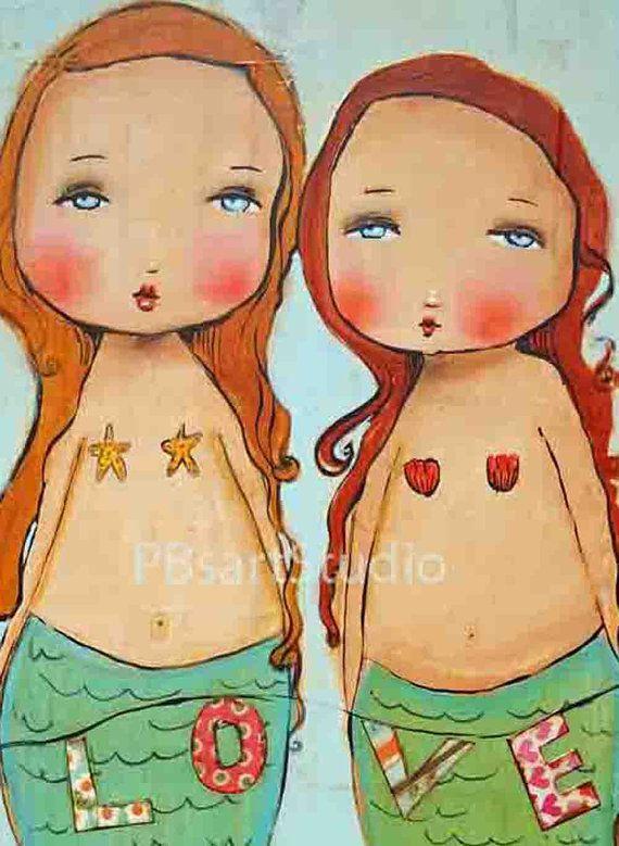 Love mermaids print of original art 11x14 by PBsArtStudio on Etsy