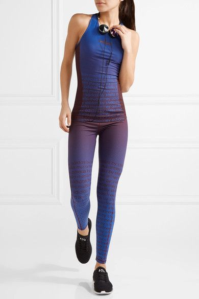 Adidas by Stella McCartney - Train Miracle Printed Climalite Stretch Leggings - Burgundy -