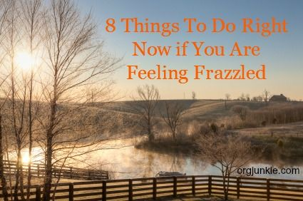 8 things to do right now if you are feeling frazzled - from I'm an Organizing Junkie (good stress relief tips)