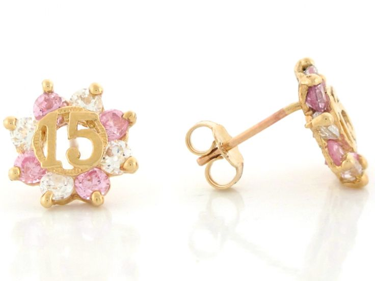 15 Anos Rings: Yellow Gold Pink And White CZ Simulated Birthstone 15 Anos