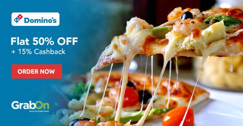 Happiness Never Ends at #Dominos. Get Flat 50% OFF On Rs 300 + 15% #Cashback Via #Mobikwik. http://www.grabon.in/dominos-coupons/
