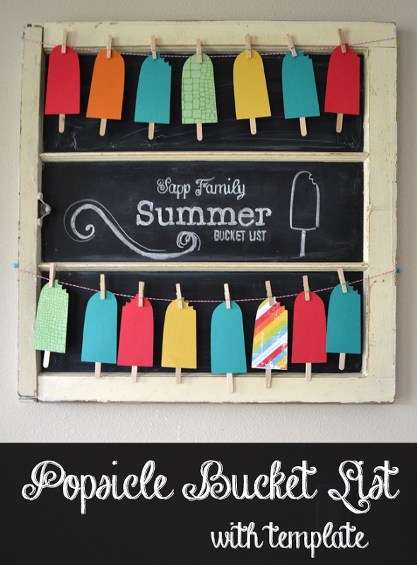 Popsicle Summer Bucket List Banner - free cut templates