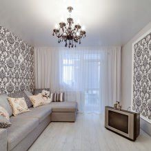Обои в интерьере гостиной: 60 современных вариантов дизайна-16