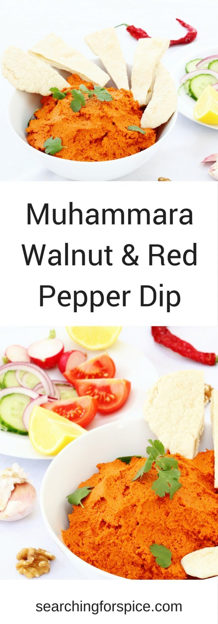 This Muhammara walnut and red pepper dip recipe makes a great alternative to houmous. It's lemony spicy and nutty and a big batch keeps well for a few days in the fridge #Muhammara #dips #Sidedish #MiddleEasternFood