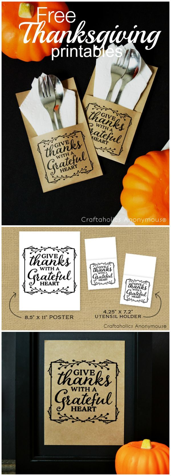 Free Thanksgiving Day Printables/crafts - quote + DIY utensil holder idea. Print on kraft paper for a rustic look! www.CraftaholicsAnonymous.net