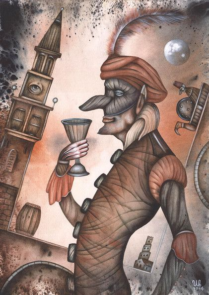 Wine Glass by Eugene Ivanov #cirque #circus #clown #clownery #illustration #eugeneivanov #@eugene_1_ivanov