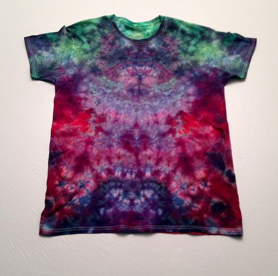 Large Mens Purple And Red Tie Dye Ice Dye Shirt Hand Dye Tie Dye T