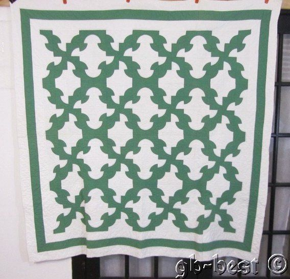 Classic 1920s Drunkards Path Vintage Quilt Green White Clean 72 x 70 Nice | eBay