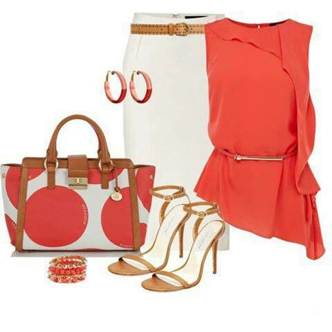 Lovely! Coral. White. Tan leather.