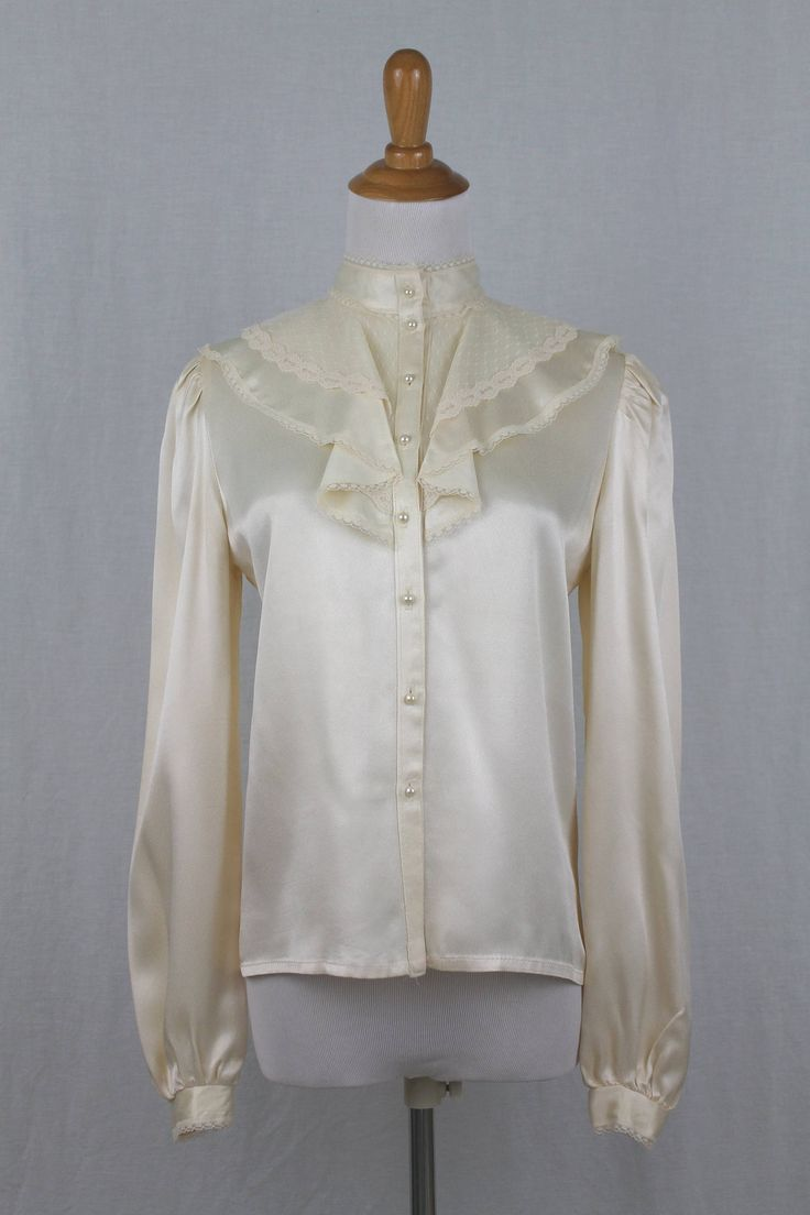 Excited to share the latest addition to my #etsy shop: Vintage Jessica's Gunnies Gunne Sax Ivory Satin & Lace Victorian Blouse 7 S NEW http://etsy.me/2Cs8mwq #clothing #women #blouse #white #longsleeves #gunnesax #jessicamcclintock #vintage #ivory