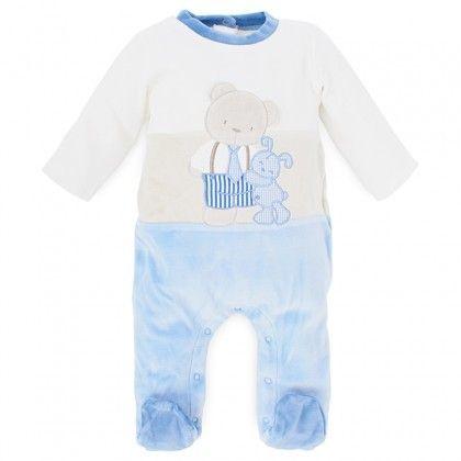 Mayoral Velour Cream and Blue Babygrow on shopstyle.com
