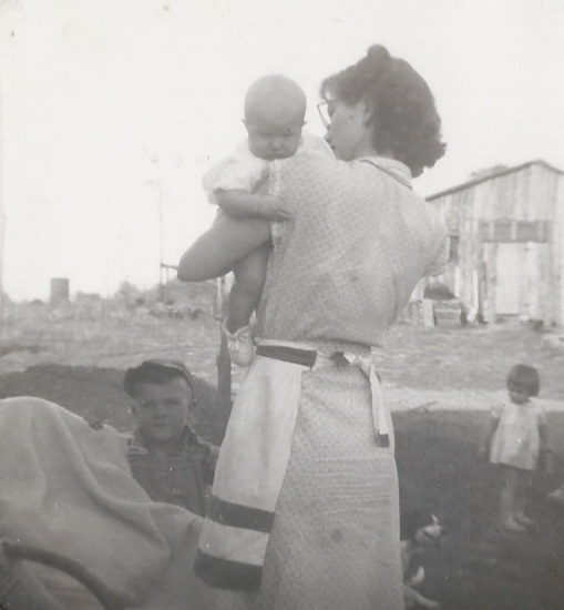 Cousin Bobby Swope, baby Connie and mother Martha Hale Gillim