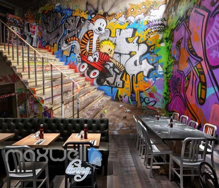 3d Wallpaper Graffiti Wann And Stairs Art Wall Murals Wallpaper Decals Prints Decor Idcwp Jb 000618 3d Art Decals Decor Stair Art Mural Wallpaper Mural