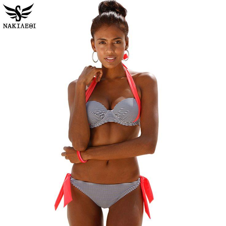 NAKIAEOI 2016 New Sexy Bikinis Swimsuit Mulheres Empurrar Para Cima do Biquíni conjunto de Fatos de Banho Halter Summer Beach Wear Plus Size Swimwear XXL