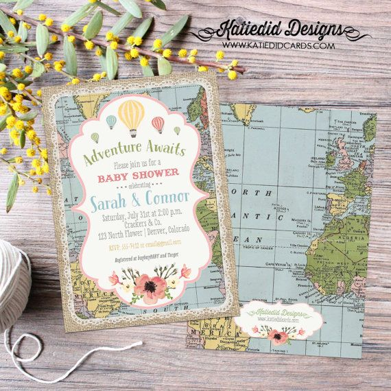 Adventure awaits baby shower invitation gender neutral reveal map hot air balloon flowers burlap sip and see world travel 12116 diaper world