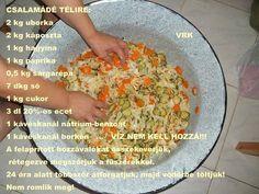 Csalamádé télire Hozzávalók:2 kg uborka2 kg káposzta1 kg hagyma1 kg paprika0,5 kg sárgarépa7 dkg só1 kg cukor3 dl 20%-os ecet1 kávéskanál nátrium...