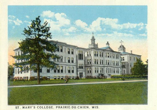 St. Mary's College, Prairie du Chien, WI; founded in 1913 ; moved to Milwaukee and adopted name of Mount Mary College in 1929; name change to Mount Mary University July 2013; image source: http://www.usgwarchives.net/wi/crawford/postcards/stmary.jpg