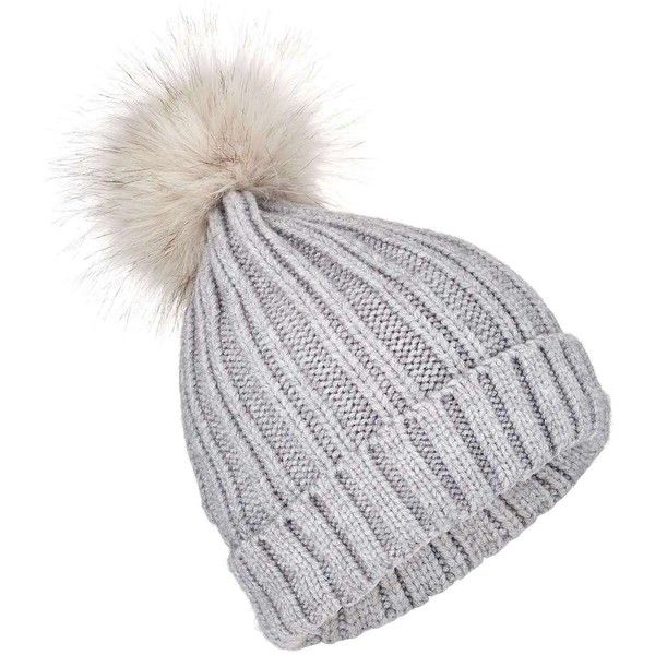 639b7630dd17b4 Miss Selfridge Grey Faux Fur Pom Pom Beanie Hat ($16) ❤ liked on Polyvore  featuring accessories, hats, grey, beanie caps, grey beanie hats, pompom hat,  ...