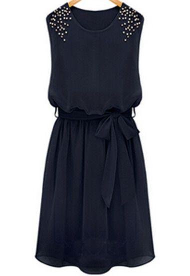 robe en mousseline perlée -bleu marine