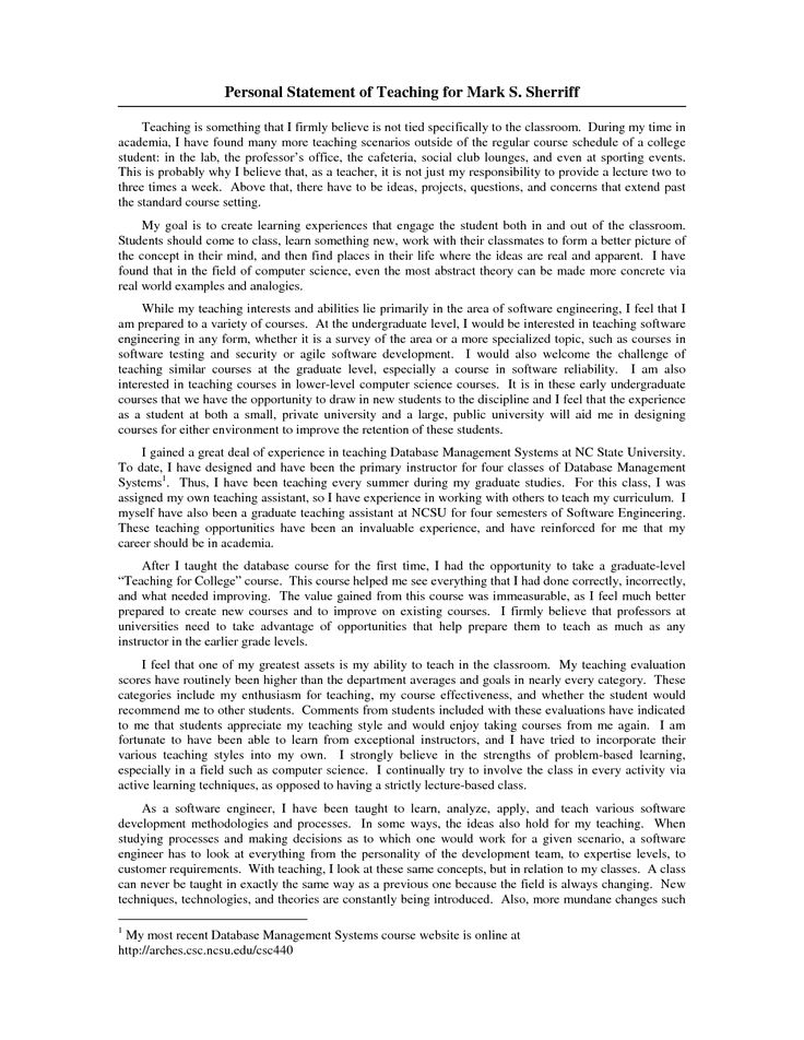 Samples Of Personal Statement For Graduate School Application