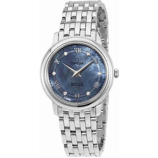Omega De Ville Prestige Blue Mother of Pearl Ladies Watch ($1,875) ❤ liked on Polyvore featuring jewelry, watches, omega wrist watch, blue dial watches, mother of pearl watches, water resistant watches and omega jewelry