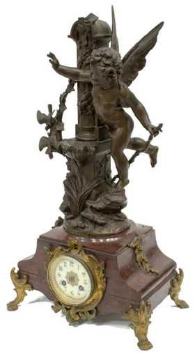 FRENCH MARBLE MANTLE CLOCK W/ FIGURAL TOPPER