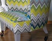 Vintage Barrel Chair in Schumacher Zenyatta Mondatta Peacock