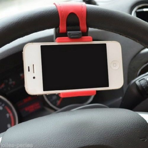 JP 1PC Red Car Steering Wheel Mount Holder Rubber Band iPhone iPod MP4 Holders