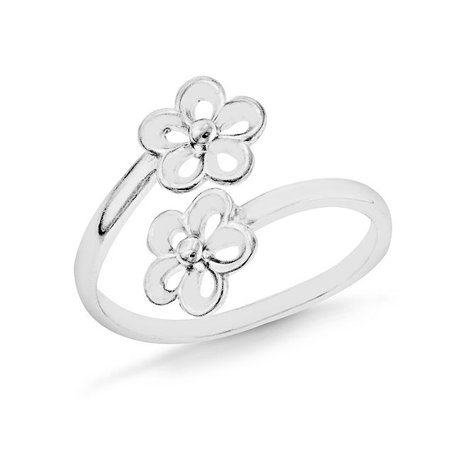 Sterling Silver Double Flower Toe Ring
