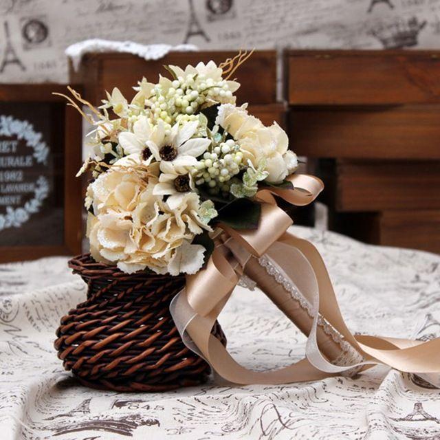 Düğün Gelin Buketleri Champagne Yapay Düğün Buketleri Gelin Çiçek Broş Bouquet De Fleurs Mariage