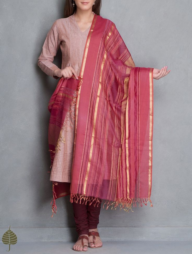 Buy Coral Gold Maheshwari Silk Cotton Dupatta with Woven Zari Border by Jaypore Accessories Dupattas Power Dressing Katan Kurtas Pants & More Pintuck Details Online at Jaypore.com